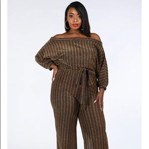 🔥😍Plus Size Off The Shoulder, Metallic Jumpsuit
